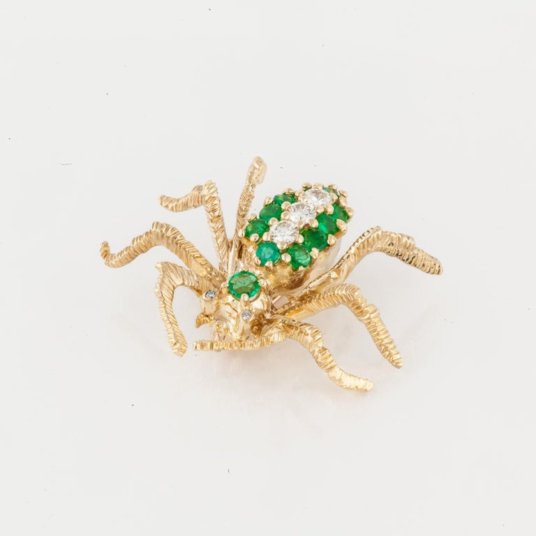 18K yellow gold spider pin marked