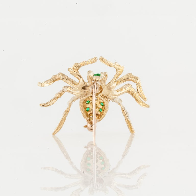 Cartier Yellow Gold Emerald Diamond Spider Pin In Good Condition For Sale In Houston, TX