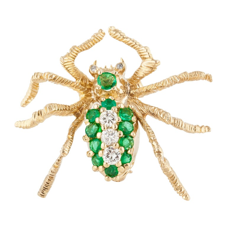 Cartier Yellow Gold Emerald Diamond Spider Pin For Sale