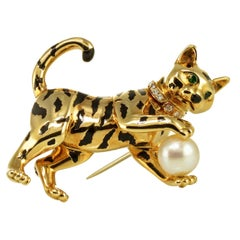 Cartier Yellow Gold Enamel Cultured Pearl Diamond and Emerald Cat Tiger Brooch