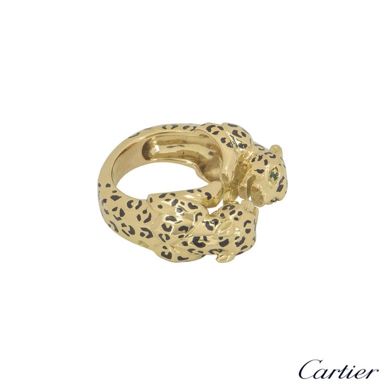 Cartier Yellow Gold Enamel Double Panthere De Cartier Ring In Excellent Condition For Sale In London, GB