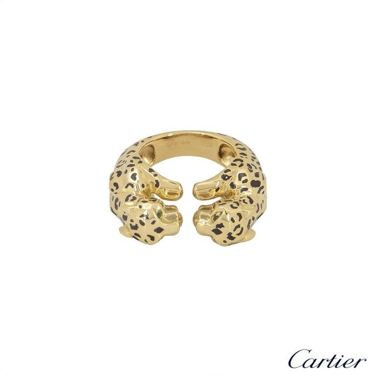 Women's or Men's Cartier Yellow Gold Enamel Double Panthere De Cartier Ring For Sale