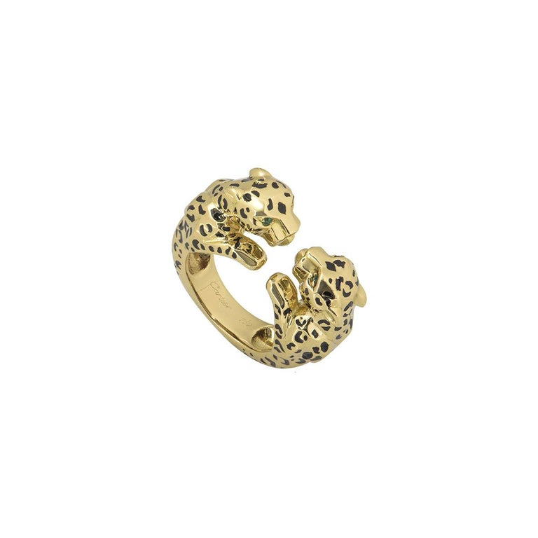 Cartier Yellow Gold Enamel Double Panthere De Cartier Ring For Sale