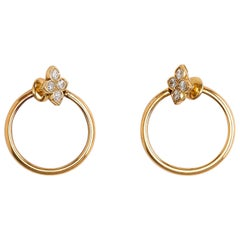 Cartier Yellow Gold Flower Diamond Hoop Earrings