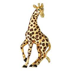 Cartier Yellow Gold Giraffe Pin Brooch with Emerald Eyes