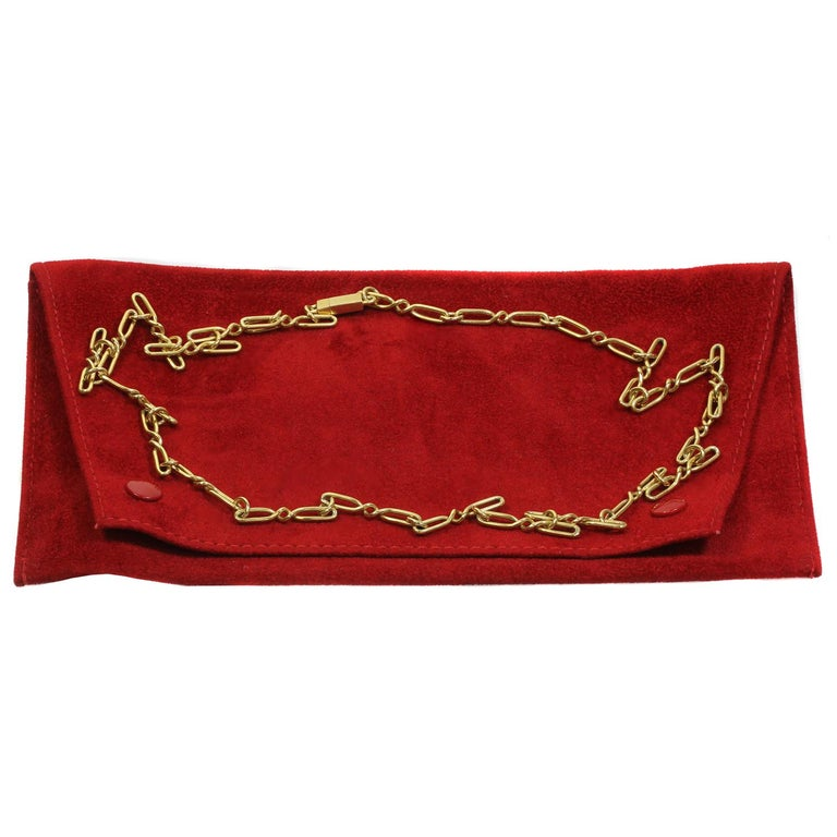 CARTIER Yellow Gold Long Link Chain Necklace  In Excellent Condition For Sale In New York, NY
