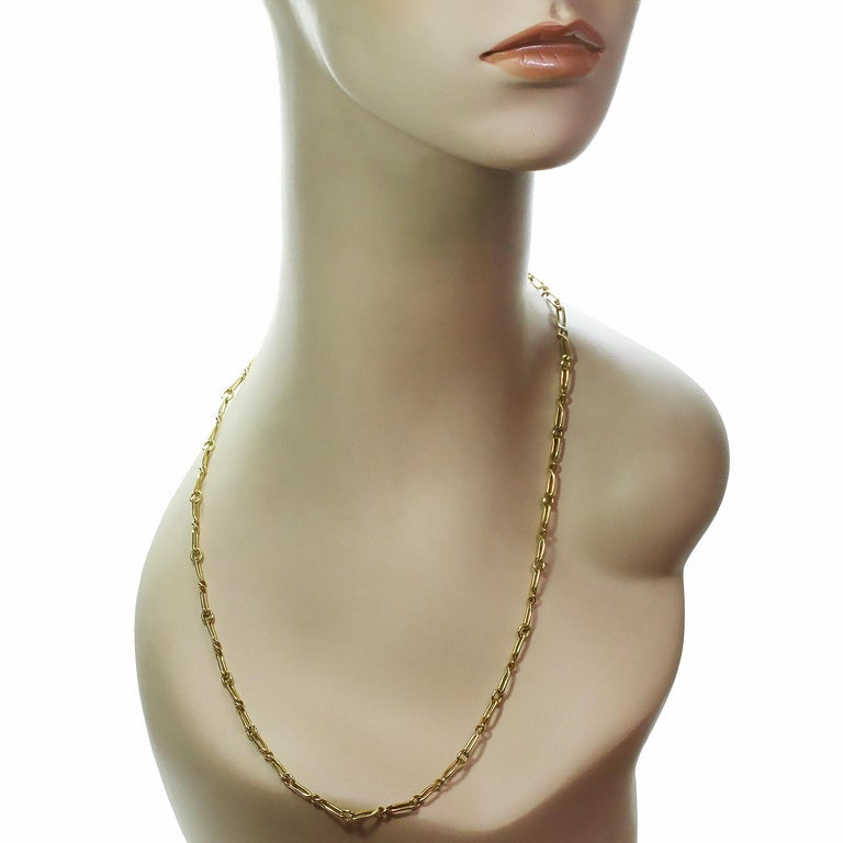 Women's or Men's CARTIER Yellow Gold Long Link Chain Necklace  For Sale