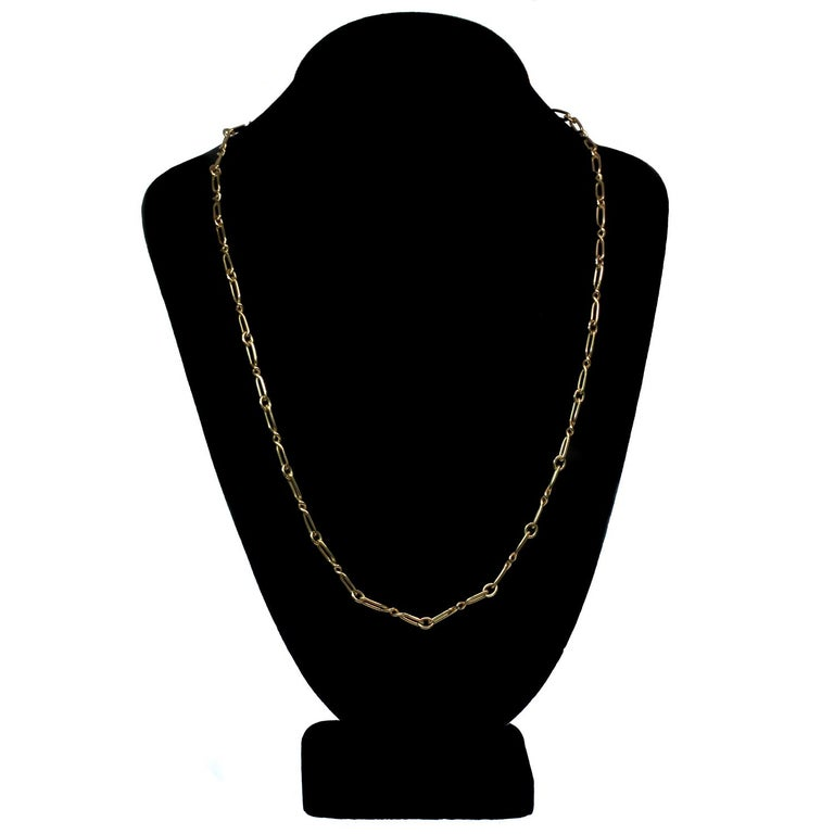 CARTIER Yellow Gold Long Link Chain Necklace  For Sale 1