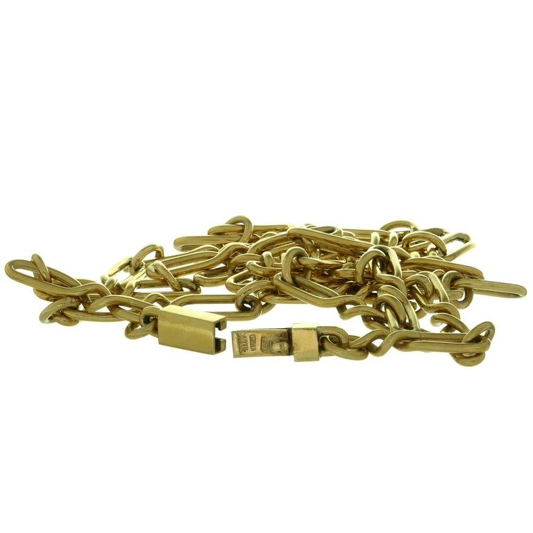 CARTIER Yellow Gold Long Link Chain Necklace  For Sale 2