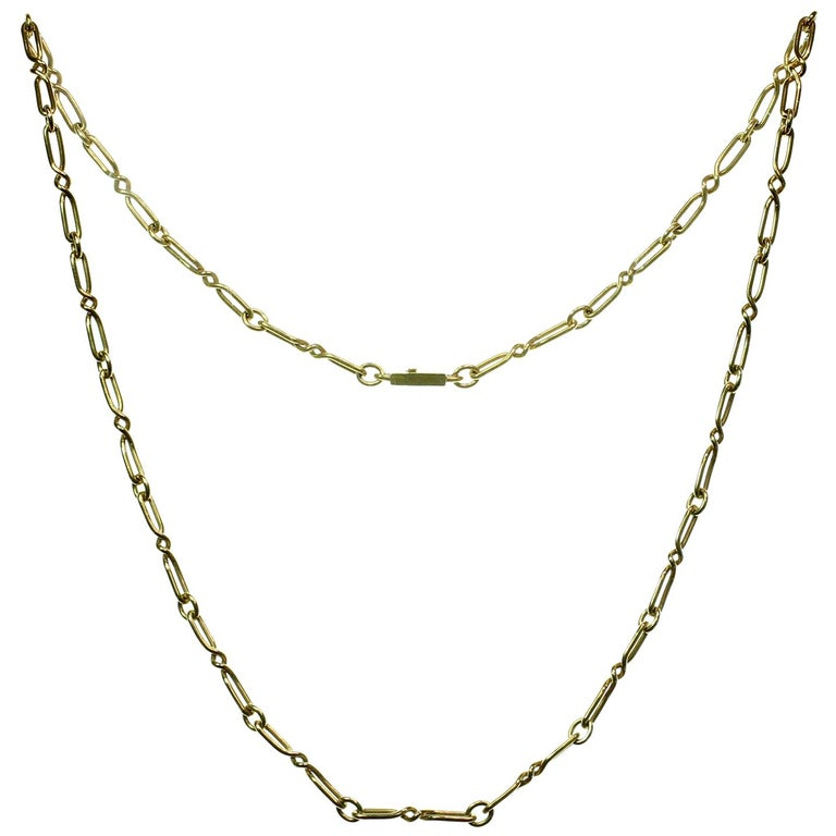 CARTIER Yellow Gold Long Link Chain Necklace  For Sale