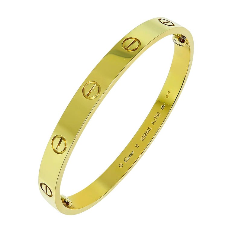 Cartier Yellow Gold Love Bangle Bracelet For Sale