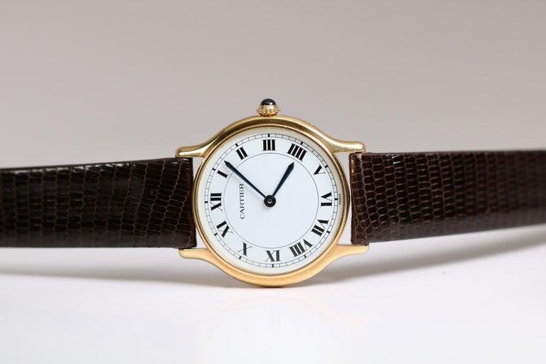 Women's or Men's Vintage Cartier Paris 18k Yellow Gold Manual Wind Lady's Wristwatch circa 1980s For Sale