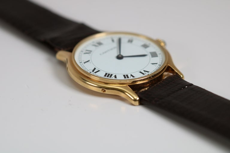 Vintage Cartier Paris 18k Yellow Gold Manual Wind Lady's Wristwatch circa 1980s For Sale 1