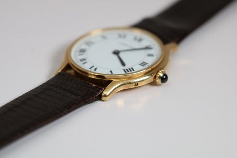 Vintage Cartier Paris 18k Yellow Gold Manual Wind Lady's Wristwatch circa 1980s For Sale 2