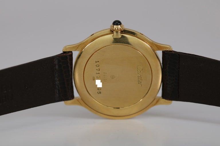Vintage Cartier Paris 18k Yellow Gold Manual Wind Lady's Wristwatch circa 1980s For Sale 3