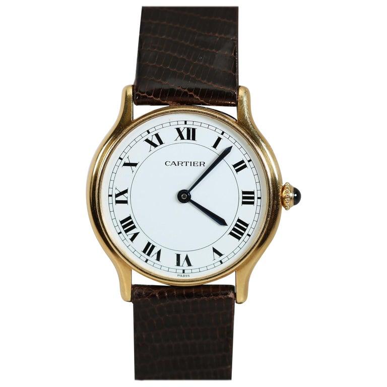 Vintage Cartier Paris 18k Yellow Gold Manual Wind Lady's Wristwatch circa 1980s For Sale