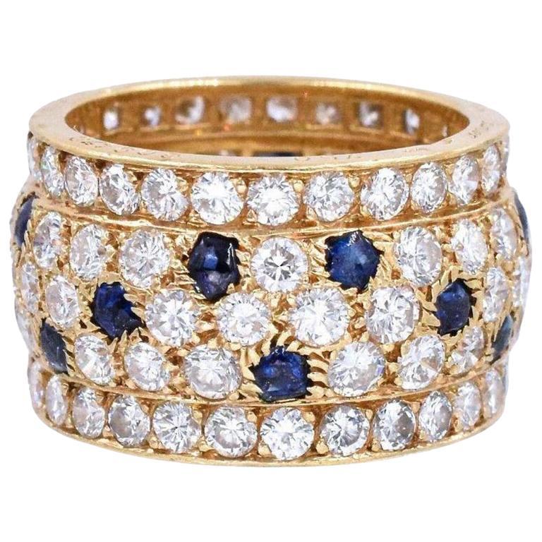 Cartier Yellow Gold Nigeria Sapphire Diamond Wide Band Ring