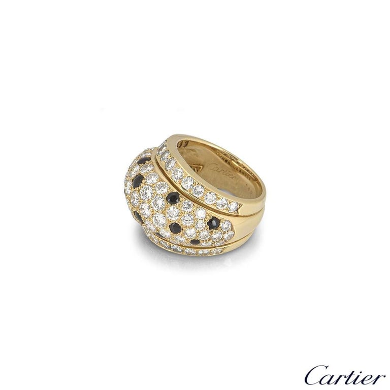 Cartier Yellow Gold Onyx and Diamond Nigeria Ring In Excellent Condition For Sale In London, GB