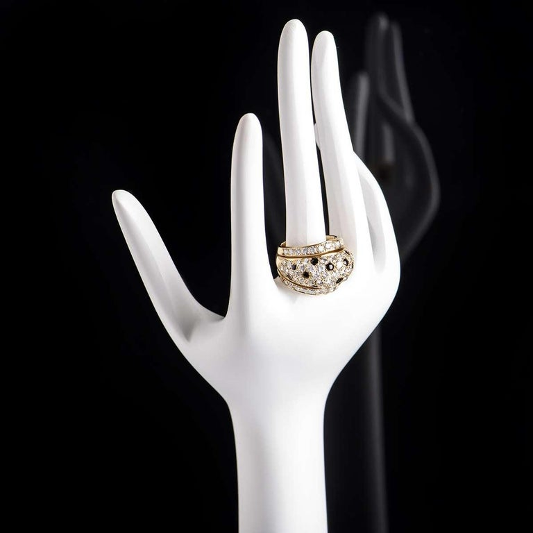 Women's Cartier Yellow Gold Onyx and Diamond Nigeria Ring For Sale