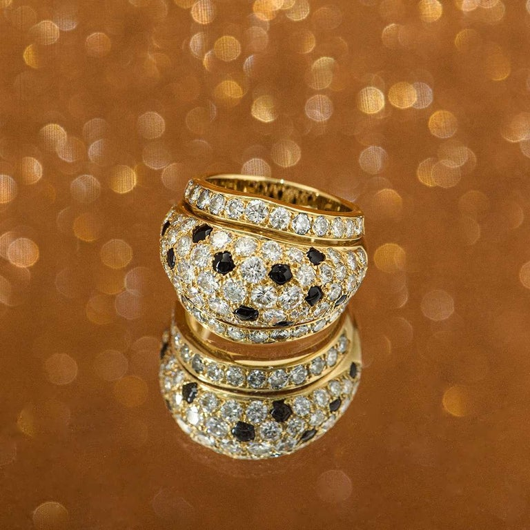 Cartier Yellow Gold Onyx and Diamond Nigeria Ring For Sale 1