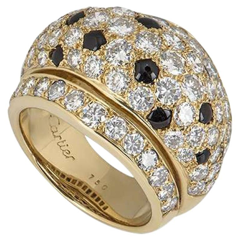 Cartier Yellow Gold Onyx and Diamond Nigeria Ring For Sale