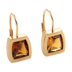 Cartier Yellow Gold Orange Citrine Dangle Earrings
