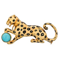 Cartier Yellow Gold Panther Pin Brooch with Turquoise and Emerald Eyes