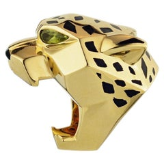 Cartier Yellow Gold Panthère De Lacquer Peridots Onyx Ring
