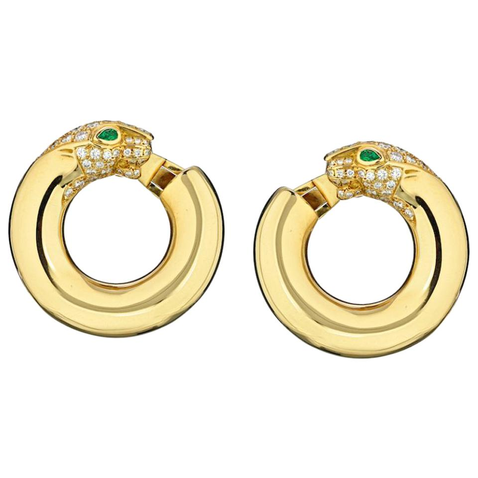 Cartier Yellow Gold Panthere Emerald Eyes Diamond Round Pierced Hoop Earrings