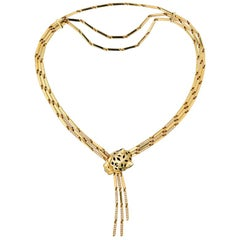Cartier Yellow Gold Panthere Head Diamond Lacquer Spots Strand Necklace