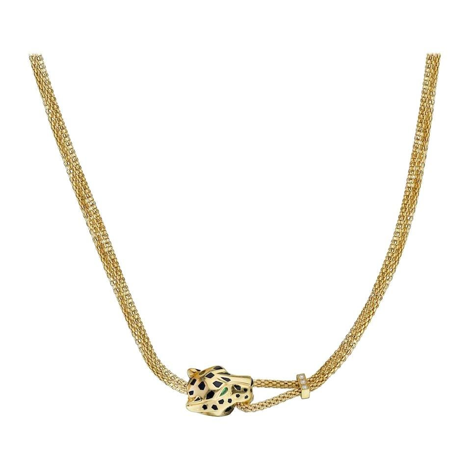Cartier Yellow Gold Panthere Head Mesh Chain Necklace