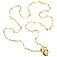 Cartier Yellow Gold Panthere on a Chain Necklace