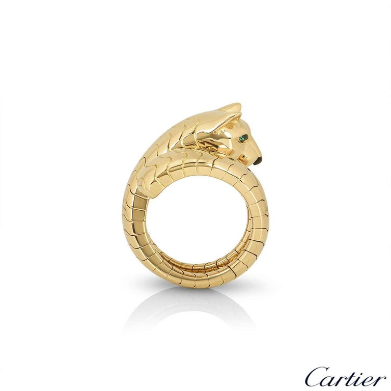Mixed Cut Cartier Yellow Gold Panthere Ring For Sale