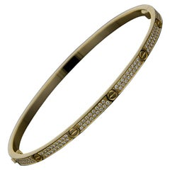 Cartier Yellow Gold Pave Diamond Love Bangle Bracelet