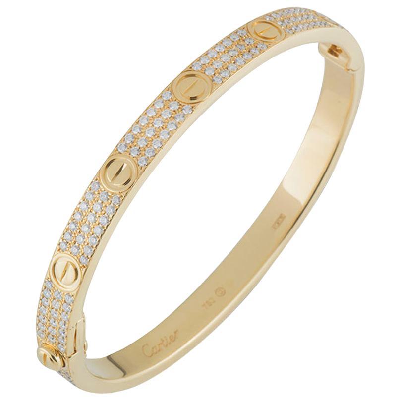 Cartier Yellow Gold Pave Diamond Love Bracelet N6035018