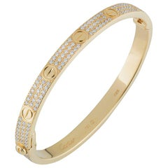 Cartier Yellow Gold Pave Diamond Love Bracelet N6035018