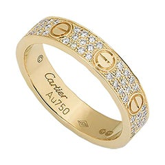 Cartier Yellow Gold Pave Diamond Love Ring