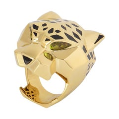 Cartier Yellow Gold Peridot and Onyx Panthere Ring
