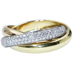 Cartier Yellow Gold Pink Gold White Gold Trinity De 3 Bands Diamonds Ring