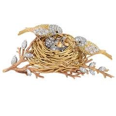 Cartier Yellow Gold, Platinum and Diamond Bird's Nest Brooch Pin, circa 1960s