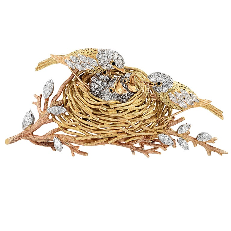 Cartier Yellow Gold, Platinum and Diamond Bird's Nest Brooch Pin, circa 1960s For Sale