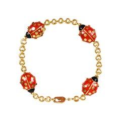 Cartier Yellow Gold Red Enamel Ladybug Bracelet