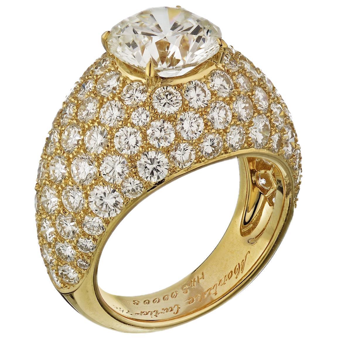Cartier Yellow Gold Round Cut Diamond Engagement Ring 3 Carat
