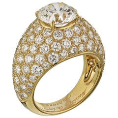 Cartier Yellow Gold Round Cut Diamond Engagement Ring 3 Carat
