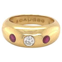 Cartier Yellow Gold Ruby Diamond Ring