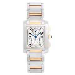 Cartier Yellow Gold Stainless Steel Tank Francaise Chronograph Quartz Wristwatch