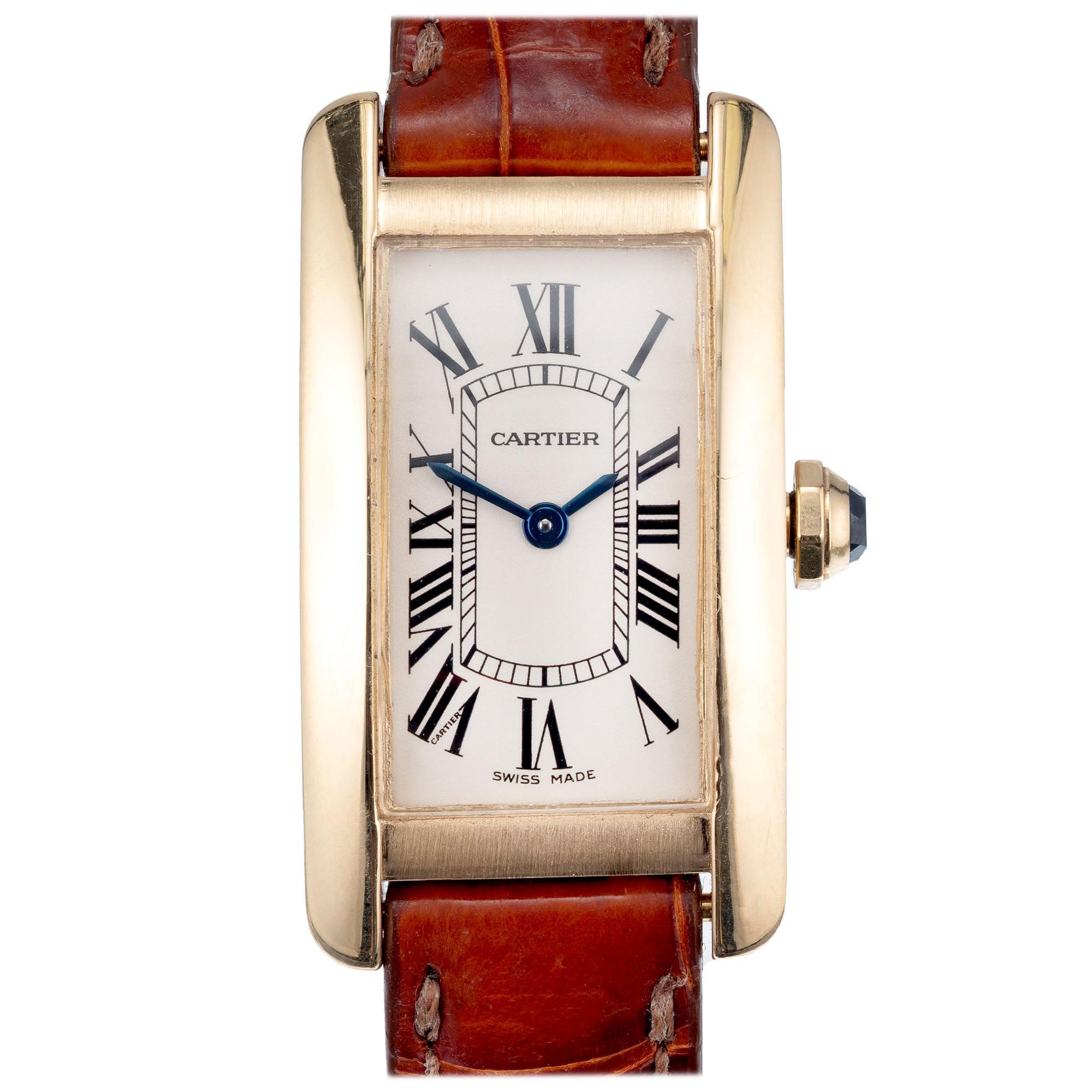 Cartier Yellow Gold Tank Americaine Ladies Wristwatch