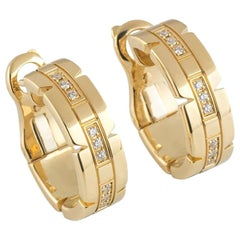 Cartier Yellow Gold Tank Francaise Diamond Hoop Earrings