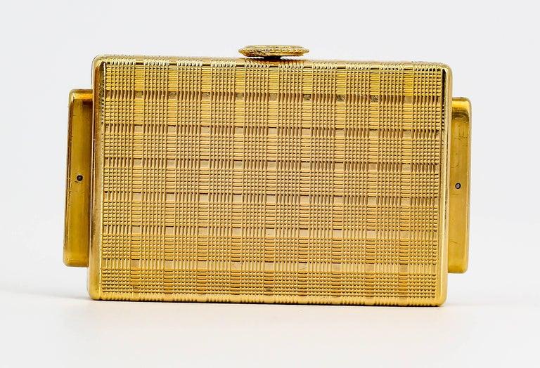 Women's or Men's Cartier Yellow Gold Traveling Shutter Mechanical wind Watch Clock For Sale