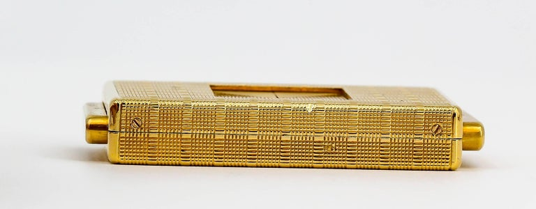 Cartier Yellow Gold Traveling Shutter Mechanical wind Watch Clock For Sale 1